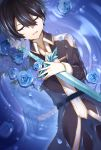 2boys bangs black_coat black_hair blonde_hair blue_coat blue_flower blue_rose blue_rose_sword closed_eyes coat crying eugeo eyebrows_visible_through_hair flower from_above hair_between_eyes highres holding holding_sword holding_weapon kirito long_sleeves lying midnight8sky multiple_boys on_back open_mouth petals rose shiny shiny_hair sword sword_art_online tears water_surface weapon