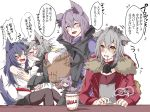 4girls animal_ear_fluff animal_ears arknights fur_trim grey_hair hair_between_eyes highres hood hooded_jacket jacket lappland_(arknights) laundry_basket long_hair long_sleeves mirui multiple_girls projekt_red_(arknights) provence_(arknights) purple_hair ramen red_jacket tail texas_(arknights) translation_request wolf_ears wolf_tail yellow_eyes yuri