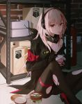1girl absurdres armband bandana black_bandana black_legwear blonde_hair box cardboard_box chocolate_mint_ice_cream eating empty food girls_frontline grifon_&_kryuger headgear highres ice_cream ice_cream_cup ice_cream_spoon injury long_hair long_sleeves looking_at_viewer lunaplum m4_sopmod_ii_(girls_frontline) mechanical_hands mouth_hold multicolored_hair off_shoulder opening panties panties_under_pantyhose pantyhose red_eyes shelf sitting solo spoon storage_room streaked_hair torn_clothes torn_legwear underwear