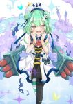 1girl alternate_costume azur_lane beret blush bug butterfly earrings green_hair hat hololive insect jewelry looking_at_viewer manjuu_(azur_lane) open_mouth sleeveless solo sparkle torpedo_tubes uruha_rushia virtual_youtuber yellow_eyes