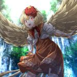 1girl absurdres animal_on_head bird bird_wings blonde_hair brown_dress chick day dress feathered_wings highres kakutasu_(akihiron_cactus) light_particles looking_at_viewer medium_hair multicolored_hair niwatari_kutaka on_head open_mouth outdoors outstretched_arms puffy_short_sleeves puffy_sleeves red_eyes redhead shirt short_sleeves solo summer touhou two-tone_hair white_shirt wings