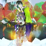 1girl aqua_hair black_hair boots bracelet hand_on_own_cheek jacket_on_shoulders jewelry leggings light_smile multicolored_hair nishihara_isao original puddle raincoat reflection rubber_boots short_hair smile solo spiked_bracelet spikes squatting two-tone_hair umbrella violet_eyes water