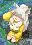 ^_^ absurdres animal_ears arm_rest arm_up boots closed_eyes day eyebrows_visible_through_hair flower from_above full_body grey_hair hair_between_eyes hand_rest highres holding holding_flower hydrangea kemono_friends komeiponkiti lion_ears long_hair long_sleeves open_mouth outdoors puddle rain raincoat rubber_boots smile water water_drop wet wet_clothes wet_face wet_hair white_lion_(kemono_friends)