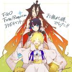 1boy 2girls baggy_clothes bangs bare_shoulders black_hair blue_eyes blue_ribbon blush body_markings breasts brown_hair claws closed_eyes closed_mouth dress facial_mark fate/grand_order fate/requiem fate_(series) gradient_hair horns japanese_clothes kijo_kouyou_(fate) kimono long_hair long_sleeves looking_at_viewer magatama magatama_hair_ornament medium_hair multicolored_hair multiple_girls noco_(adamas) open_mouth orange_hair parted_bangs parted_lips pink_hair puffy_long_sleeves puffy_sleeves red_lips ribbon scarf short_dress simple_background smile sparkle streaked_hair translation_request utsumi_erise voyager_(fate/requiem) white_background white_dress white_kimono wide_sleeves yellow_eyes yellow_scarf