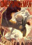 1boy bald belt bodysuit cape copyright_name gloves highres looking_at_viewer mossi one-punch_man punching red_gloves saitama_(one-punch_man) uppercut white_cape yellow_bodysuit