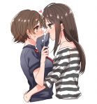 2girls blue_shirt blush brown_eyes brown_hair closed_mouth cropped_torso eye_contact from_side green_eyes heart holding honda_mio hug idolmaster idolmaster_cinderella_girls long_hair looking_at_another multiple_girls na_greentea0302 necktie off-shoulder_shirt off_shoulder red_neckwear shibuya_rin shiny shiny_hair shirt short_hair short_sleeves simple_background sketch smile striped striped_shirt white_background yuri