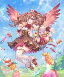 1girl bangs basket blazer blurry blurry_background blush bow bowtie brown_skirt candy candy_hair_ornament character_request clouds cloudy_sky commentary_request drill_hair eyebrows_visible_through_hair flower flying food food_themed_hair_ornament hair_between_eyes hair_flower hair_ornament hair_ribbon hat high-waist_skirt highres holding_candy jacket layered_skirt lollipop long_hair looking_at_viewer madogawa official_art open_blazer open_clothes open_jacket open_mouth original outstretched_arm pink_skirt red_eyes red_footwear red_neckwear ribbon shadowverse shirt skirt sky solo symbol-shaped_pupils thigh-highs twin_drills white_jacket white_legwear white_shirt wings zettai_ryouiki