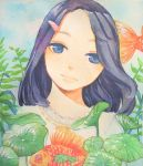 1girl barrette blue_eyes blue_hair blue_sky brs--wrs clouds colored_eyelashes eyebrows fern fish frilled_shirt_collar frills goldfish head_tilt highres light_smile lips long_hair looking_at_viewer original plant shirt sky solo traditional_media upper_body watercolor_(medium) white_shirt
