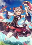 1girl armpits bare_shoulders beads blurry blurry_background blush breasts character_request clouds day detached_sleeves double_bun dress eyebrows_visible_through_hair fang grass grey_hair hair_beads hair_between_eyes hair_ornament holding holding_weapon jumping looking_at_viewer official_art one_eye_closed open_mouth outdoors sangokushi_taisen shugao sky slit_pupils small_breasts solo tongue twintails weapon yellow_eyes