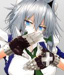 1girl absurdres blue_eyes bow braid breasts eyebrows_visible_through_hair gloves greenkohgen hair_bow highres huge_filesize izayoi_sakuya large_breasts looking_at_viewer maid maid_headdress necktie short_hair silver_hair simple_background solo touhou twin_braids white_background