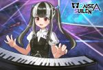 1girl :d bang_dream! bangs belt black_belt black_dress black_hair blunt_bangs blurry blurry_background blush commentary dress eyebrows_visible_through_hair group_name hair_bobbles hair_ornament highres instrument keyboard_(instrument) long_hair looking_down microphone microphone_stand multicolored_hair music open_mouth pareo_(bang_dream!) playing_instrument purple_background red_eyes seojinhui shirt short_sleeves sidelocks smile solo stage stage_lights standing twintails two-tone_hair upper_body white_hair white_shirt