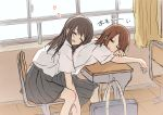 2girls bag betock brown_hair chair classroom desk hair_ornament hairclip heart highres long_hair multiple_girls original school_bag school_chair school_desk school_uniform short_hair translated window yuri