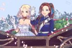 2girls :d artist_name bangs bare_shoulders blonde_hair blue_background blue_bow blue_eyes bow braid brooch cake_no_shaberu car dated day dress frilled_dress frills ground_vehicle hair_bow highres jewelry katarina_claes lettuce long_hair long_sleeves maria_campbell medal military military_uniform motor_vehicle multiple_girls open_mouth otome_game_no_hametsu_flag_shika_nai_akuyaku_reijou_ni_tensei_shite_shimatta outdoors parted_bangs ponytail smile spring_onion uniform veil very_long_hair waving white_dress yuri