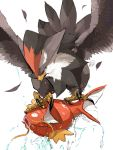 bird feathers fish flying gen_1_pokemon gen_4_pokemon highres magikarp pokemon pokemon_(creature) signature simple_background staraptor talons water white_background yuyu_ekaki_dayo