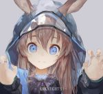 1girl amiya_(arknights) animal_ears arknights blue_eyes brown_hair claw_pose closed_mouth commentary copyright_name cravat english_text eyelashes grey_background hair_between_eyes highres hood hooded_jacket jacket jewelry korean_commentary long_hair long_sleeves looking_at_viewer mile_(mil2) multiple_rings portrait purple_neckwear rabbit_ears ring see-through simple_background smile solo