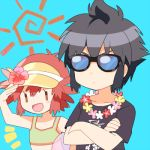1boy 1girl alan_(pokemon) ball beachball bikini black_hair blue_background crossed_arms flower hair_flower hair_ornament kanji lei lowres manon_(pokemon) mei_(maysroom) open_mouth pokemon pokemon_(anime) pokemon_xy_(anime) redhead serious simple_background sun_(symbol) sunglasses swimsuit tagme visor