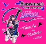 1girl bat black_hair bloodstained:_ritual_of_the_night blue_eyes gauntlets gradient_hair hair_between_eyes hair_ornament hand_up highres miriam_(bloodstained) multicolored_hair official_art one_eye_closed pink_background solo tattoo vusc