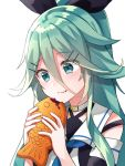 1girl aqua_eyes aqua_hair bare_shoulders black_ribbon black_serafuku blush detached_sleeves eating eyebrows_visible_through_hair food food_on_face hair_between_eyes hair_ribbon highres holding holding_food kantai_collection katsuobushi_(eba_games) long_hair long_sleeves ponytail ribbon school_uniform serafuku simple_background solo taiyaki wagashi white_background yamakaze_(kantai_collection)
