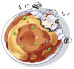 1girl :t antenna_hair bangs black_jacket blush braid chibi closed_mouth commentary_request eating food food_on_hair food_request hair_between_eyes hair_ornament in_food jacket kizuna_akari long_hair long_sleeves milkpanda minigirl plate puffy_long_sleeves puffy_sleeves shadow silver_hair solo star_(sky) translation_request twin_braids twintails very_long_hair voiceroid wavy_mouth white_background