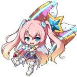 1girl :d angelic_buster bangs bare_shoulders blue_eyes boots brown_hair eyebrows_visible_through_hair fang full_body gloves glowing gradient_hair hair_between_eyes hair_ornament holding holding_hammer long_hair looking_at_viewer maplestory multicolored_hair nekono_rin open_mouth pink_hair pleated_skirt purple_skirt shirt simple_background skirt sleeveless sleeveless_shirt smile solo star_(symbol) thigh-highs thighhighs_under_boots transparent_wings two-handed two_side_up very_long_hair white_background white_footwear white_gloves white_legwear white_shirt
