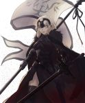 1girl ahoge armor armored_dress banner black_cape black_dress black_legwear black_ribbon cape chain doragonboll0127 dress fate/grand_order fate_(series) faulds gauntlets headpiece highres holding holding_sword holding_weapon jeanne_d'arc_(alter)_(fate) jeanne_d'arc_(fate)_(all) ribbon shiny shiny_legwear shiny_skin short_hair silver_hair simple_background solo standing sword thigh-highs weapon white_background yellow_eyes