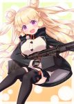 1girl :d bangs black_jacket black_legwear black_skirt blonde_hair blush breasts commentary_request double_bun eyebrows_visible_through_hair girls_frontline gloves grey_gloves gun haradaiko_(arata_himeko) highres hk23 hk23_(girls_frontline) holding holding_gun holding_weapon jacket large_breasts long_hair long_sleeves looking_at_viewer machine_gun object_namesake open_clothes open_jacket open_mouth pleated_skirt skirt sleeves_past_wrists smile solo thigh-highs two_side_up very_long_hair violet_eyes weapon white_cardigan