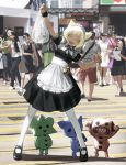 1boy 3others 6+girls absurdres animal_ears bag bell blonde_hair blurry blurry_background character_request check_character crowd day full_body green_eyes highres holding holding_bag looking_at_viewer maid maid_headdress medium_skirt multiple_girls multiple_others open_mouth original pantyhose pavement plastic_bag pose sara_manta shoes short_hair short_sleeves skirt smile solo_focus standing teeth white_legwear wristband
