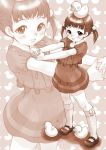 1girl bird blush brown_dress brown_footwear brown_hair copyright_request dress duck inuburo looking_at_viewer outstretched_arms short_hair twintails white_legwear