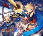 1boy aircraft airplane blonde_hair blue_eyes fate/grand_order fate/requiem fate_(series) goggles goggles_around_neck lamp male_focus phonograph record scarf scorpion5050 sextant smile space spacesuit suitcase voyager_(fate/requiem)