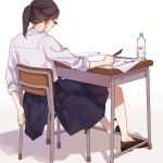 1girl ayaki_(43510) book bottle eizouken_ni_wa_te_wo_dasu_na! freckles from_behind glasses kanamori_sayaka loafers long_hair pen pleated_skirt ponytail shadow shoes simple_background skirt solo water_bottle white_background