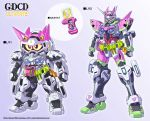 chibi clenched_hands crossover fusion g-self goggles gradient gradient_background gundam gundam_g_no_reconguista kamen_rider kamen_rider_ex-aid kamen_rider_ex-aid_(series) mecha no_humans sd_gundam srx standing super_robot_wars super_robot_wars_original_generation yanagi_joe yellow_eyes
