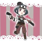 1girl belt black_hair black_hairband black_headwear black_vest blush boots brown_belt brown_footwear brown_gloves brown_pants center_frills commentary_request dual_wielding fingerless_gloves frills full_body gloves goggles goggles_on_head gun hairband handgun hat holding holding_gun holding_weapon jitomi_monoe knee_boots long_sleeves looking_at_viewer magnet mini_hat mini_top_hat open_mouth pants pistol pocket_watch raone/kinosato red_eyes shirt short_hair signature solo standing standing_on_one_leg steampunk striped striped_background top_hat vertical_stripes vest virtual_youtuber voms watch weapon white_shirt