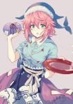 1girl :o alcohol animal_print blue_shirt bottle breasts cup dress fish_print green_eyes hair_between_eyes hat highres looking_at_viewer obi okunoda_miyoi open_mouth pink_hair purple_skirt sakazuki sake sake_bottle sash shirt short_hair short_sleeves simple_background skirt solo talisman touhou uranaishi_(miraura) whale_hat whale_print