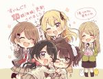 5girls :d ;d ;i ^_^ animal bird black-framed_eyewear black_hair black_legwear black_ribbon black_skirt blonde_hair blush brown_background brown_eyes brown_hair brown_skirt chibi chick closed_eyes closed_mouth collared_shirt commentary_request drawstring dress_shirt fang flying_sweatdrops grey_hair grey_jacket hair_ornament hair_ribbon hairclip highres holding hood hood_down hooded_jacket jacket long_hair low_twintails multiple_girls no_shoes one_eye_closed open_clothes open_jacket open_mouth pleated_skirt rabbit red_neckwear ribbon sakura_oriko semi-rimless_eyewear shirt side_ponytail skirt smile socks sparkle standing sweat sweater swing!! translation_request twintails two_side_up under-rim_eyewear v very_long_hair white_shirt white_sweater