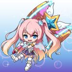 1girl :d angelic_buster bangs bare_shoulders blue_background blue_eyes boots brown_hair commentary_request eyebrows_visible_through_hair fang full_body gloves glowing gradient gradient_background gradient_hair hair_between_eyes hair_ornament holding holding_hammer long_hair looking_at_viewer maplestory multicolored_hair nekono_rin open_mouth pink_hair pleated_skirt purple_background purple_skirt shirt skirt sleeveless sleeveless_shirt smile solo sparkle_background star_(symbol) thigh-highs thighhighs_under_boots transparent_wings two-handed two_side_up very_long_hair white_footwear white_gloves white_legwear white_shirt
