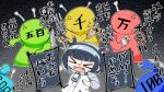 >_< 1_oda_butsu_1 1girl bangs black_hair black_hairband closed_eyes coin commentary_request eyebrows_visible_through_hair grey_hair hairband highres holding holding_money jacket jitomi_monoe long_sleeves magnet money multicolored_hair open_mouth solo_focus sweat throwing translation_request two-tone_hair virtual_youtuber voms white_jacket zipper_pull_tab