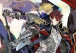 2boys armor arthur_pendragon_(fate) black_cape blonde_hair blue_cape blue_eyes cape epaulettes excalibur_(fate/prototype) fate/prototype fate/prototype:_fragments_of_blue_and_silver fate_(series) gloves holding holding_sword holding_weapon latin_commentary looking_at_viewer lucius_tiberius_(fate) male_focus messy_hair multiple_boys popped_collar profile pvc_parfait redhead smile sword twitter_username upper_body violet_eyes weapon
