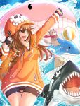 1girl anchor_symbol backpack bag ball beachball bike_shorts brown_eyes brown_hair cameltoe dolphin fingerless_gloves gloves guilty_gear guilty_gear_strive hat highres jacket mariebell may_(guilty_gear) ocean orange_jacket otter pirate_hat seal shark sharp_teeth signature skull_and_crossbones teeth whale
