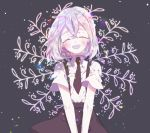 1girl :d black_bow black_neckwear black_skirt blush bow closed_eyes commentary_request cowboy_shot diamond_(houseki_no_kuni) eyebrows_visible_through_hair hands_together head_tilt houseki_no_kuni long_hair necktie open_mouth patterned_background short_sleeves silver_hair simple_background skirt smile solo sparkle suspender_skirt suspenders tische