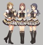 3girls ahoge bangs black_bow black_footwear black_hair black_vest blush boots bow brown_eyes brown_hair closed_mouth cross-laced_footwear full_body hair_bow hairband high_heel_boots high_heels highres idol idol_clothes idolmaster idolmaster_million_live! lace-up_boots layered_skirt long_hair looking_at_viewer multiple_girls narumi_nanami open_mouth pleated_skirt puffy_short_sleeves puffy_sleeves red_eyes shirt short_sleeves skirt smile standing striped takayama_sayoko tanaka_kotoha tokoro_megumi vertical-striped_skirt vertical_stripes vest white_shirt white_skirt wrist_cuffs