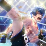 1boy :o abs black_shorts blue_hair boxing_ring bruise clenched_hand gloves high_kick highres indoors injury kicking looking_at_viewer male_focus motion_blur muscle nipples original pectorals shirtless shorts solo sweat