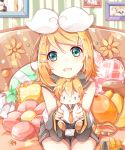 arm_warmers banana bangs bare_shoulders belt black_collar black_shorts blonde_hair blue_eyes bow character_doll collar couch detached_sleeves doll flower food framed_image fruit grey_collar grey_shorts grey_sleeves hair_bow hair_ornament hairclip heart heart_pillow highres holding holding_doll kagamine_len kagamine_rin leaning_forward light_smile looking_at_viewer nail_polish neckerchief necktie open_mouth orange photo_(object) pillow sailor_collar sazanami_(ripple1996) school_uniform shirt short_hair short_ponytail short_shorts shorts spiky_hair steamroller striped_wall swept_bangs vocaloid white_bow white_shirt yellow_nails yellow_neckwear