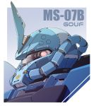 character_name clip_studio_paint_(medium) close-up glowing glowing_eye gouf gundam insignia looking_at_viewer mao_(6r) mecha mobile_suit_gundam no_humans one-eyed pink_eyes solo zeon