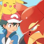 1boy angry baseball_cap black_shirt blue_background blue_eyes blue_jacket brown_eyes clenched_teeth closed_eyes commentary_request eye_contact gen_1_pokemon gen_6_pokemon glaring hat jacket looking_at_another male_focus mei_(maysroom) mythical_pokemon on_head pikachu pokemon pokemon_(anime) pokemon_(creature) pokemon_m19 pokemon_on_head pokemon_xy_(anime) red_headwear satoshi_(pokemon) shirt simple_background teeth tongue tongue_out upper_body volcanion |3