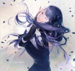 1girl absurdres black_gloves black_neckwear business_suit character_name disembodied_head elbow_gloves floating_hair formal gloves highres houseki_no_kuni lapis_lazuli_(houseki_no_kuni) long_hair looking_at_viewer necktie od620 one_eye_closed purple_hair shattered short_sleeves smile solo sparkle suit upper_body very_long_hair violet_eyes