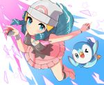 1girl absurdres aimubaniran beanie black_legwear blue_eyes blue_hair boots breasts closed_mouth commentary_request dual_wielding from_above gen_4_pokemon hat highres hikari_(pokemon) holding holding_poke_ball long_hair looking_at_viewer pink_footwear pink_scarf piplup poke_ball poke_ball_(generic) poke_ball_print pokemon pokemon_(anime) pokemon_(creature) pokemon_dppt_(anime) scarf shiny shiny_hair smile socks starter_pokemon white_headwear