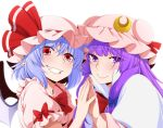 2girls bat_wings blue_hair bow capelet commentary_request crescent crescent_hair_ornament eichi_yuu frilled_shirt_collar frills hair_bow hair_ornament hands_together hat long_hair looking_at_viewer mob_cap multiple_girls pajamas patchouli_knowledge puffy_short_sleeves puffy_sleeves purple_hair red_eyes remilia_scarlet short_hair short_sleeves striped touhou upper_body violet_eyes white_background wings