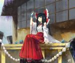 1girl alternate_costume bangs black_eyes blunt_bangs bow bowl breasts commentary day detached_sleeves fish fishbowl full_body geta goldfish hair_bow hakama hakurei_reimu holding holding_bowl japanese_clothes kimono large_bow long_hair mang_zhu medium_breasts miko open_mouth outdoors red_bow red_footwear red_hakama rope signature sitting smile solo straight_hair touhou white_kimono