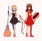 2girls ascot bandana belt black_dress blonde_hair bow braid breasts broom collared_dress dress fingerless_gloves gloves goggles goggles_on_head gohei hair_bow hakurei_reimu highres kirisame_marisa linmiee medium_breasts medium_hair mini-hakkero multiple_girls parody red_dress serious shoes short_hair side_braid side_slit simple_background single_braid sleeveless sneakers socks sonic_riders sonic_the_hedgehog surfboard touhou white_bow yellow_eyes