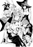 2girls 6+boys absurdres animal_ears bandages bangs bare_shoulders bell bell_collar black_sclera blunt_bangs blunt_ends breasts broom cape cat_boy cat_ears cat_tail character_request choker cigarette collar collarbone crystal_ball curly_hair doutei_(one-punch_man) eating food fubuki_(one-punch_man) garou_(one-punch_man) genos hat high_heels highres holding holding_food jack-o'-lantern looking_at_viewer medium_breasts monochrome multiple_boys multiple_girls mummy murata_yuusuke one-punch_man onsoku_no_sonic pie polearm saitama_(one-punch_man) short_hair simple_background sitting small_breasts smile speech_bubble spiked_collar spikes stitches tail tatsumaki thigh-highs trench_coat trident weapon white_background witch_hat zombieman
